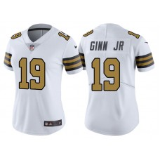 Women's New Orleans Saints #19 Ted Ginn Jr White Vapor Untouchable Color Rush Limited Jersey
