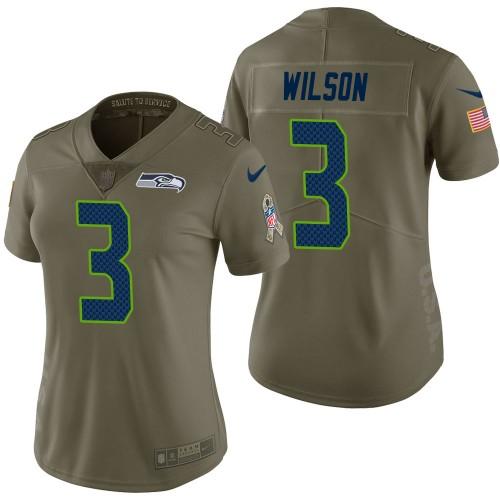 Women Seattle Seahawks #3 Russell Wilson Olive 2017 Salute to ...