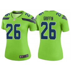 Women's Seattle Seahawks #26 Shaquill Griffin Neon Green Color Rush Legend Jersey