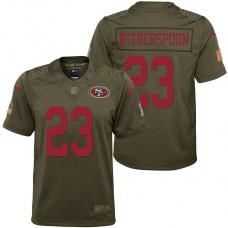 Youth San Francisco 49ers Ahkello Witherspoon Olive 2017 Salute to Service Game Jersey