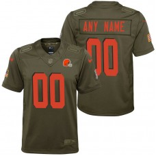 Youth Cleveland Browns Olive 2017 Salute to Service Game Customized Jersey