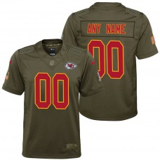 Youth Kansas City Chiefs Olive 2017 Salute to Service Game Customized Jersey