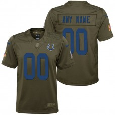 Youth Indianapolis Colts Olive 2017 Salute to Service Game Customized Jersey