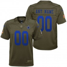Youth Dallas Cowboys Olive 2017 Salute to Service Game Customized Jersey