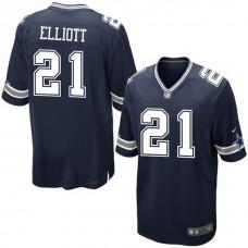 Youth Dallas Cowboys #21 Ezekiel Elliott Navy Game Jersey