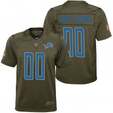 Youth Detroit Lions Olive 2017 Salute to Service Game Customized Jersey