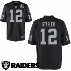 Youth Oakland Raiders #12 Ken Stabler Black Hall Of Fame Game Jersey