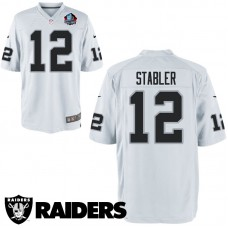 Youth Oakland Raiders #12 Ken Stabler White Hall Of Fame Game Jersey