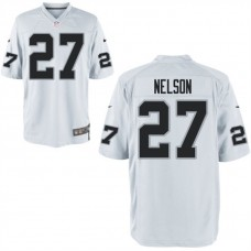 Youth Oakland Raiders #27 Reggie Nelson White Game Jersey