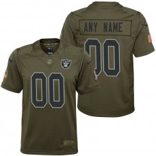 Youth Oakland Raiders Olive 2017 Salute to Service Game Customized Jersey