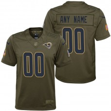 Youth Los Angeles Rams Olive 2017 Salute to Service Game Customized Jersey