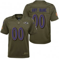 Youth Baltimore Ravens Olive 2017 Salute to Service Game Customized Jersey