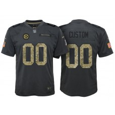 Youth Pittsburgh Steelers Anthracite Camo 2016 Salute to Service Veterans Day Customized Jersey