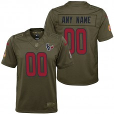 Youth Houston Texans Olive 2017 Salute to Service Game Customized Jersey